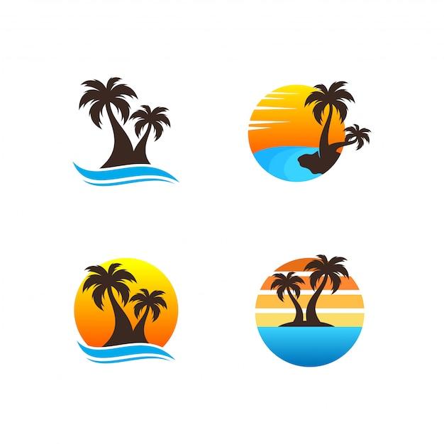 Pacote de logotipo de praia Vetor Premium