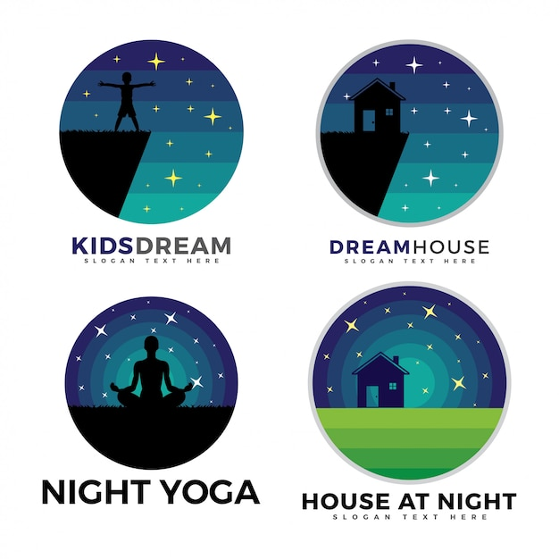 Pacote de logotipo, logotipo de crianças, logotipo da casa e logotipo de ioga Vetor Premium