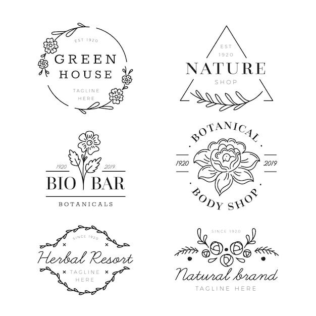 Pacote de logotipo para negócios naturais Vetor grátis