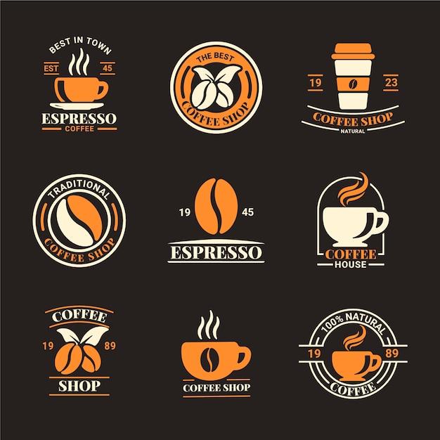 Pacote de logotipo retrô de cafeteria Vetor Premium
