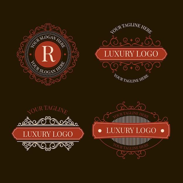 Pacote de logotipo retrô de luxo Vetor grátis