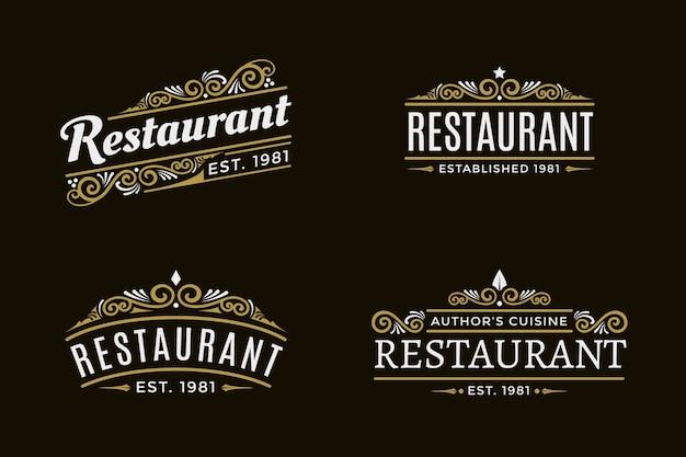 Pacote de logotipo retrô de restaurante Vetor grátis
