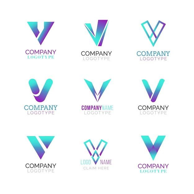 Pacote de logotipo v Vetor grátis