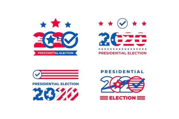 Pacote de logotipos da eleição presidencial de 2020 nos eua Vetor grátis