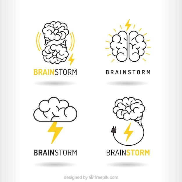 Pacote de logotipos de brainstorm Vetor grátis