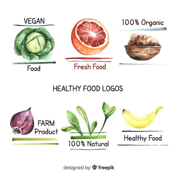 Pacote de logotipos de comida orgânica desenhada de mão Vetor grátis