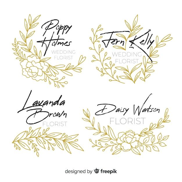 Pacote de logotipos de florista de casamento Vetor grátis