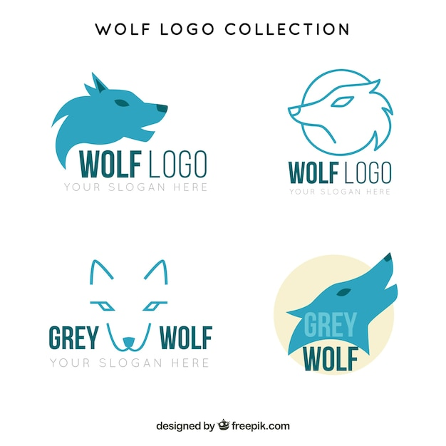 Pacote de logotipos de lobos azuis Vetor grátis