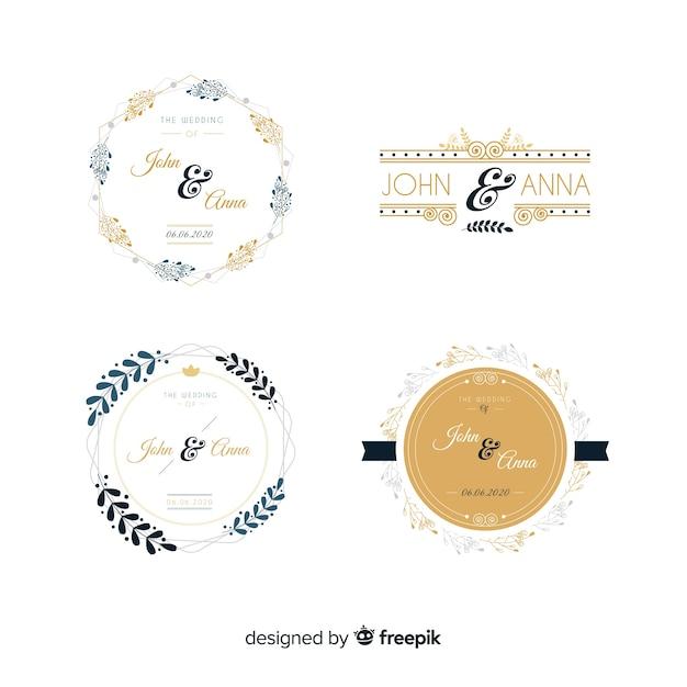 Pacote de logotipos de monograma de casamento Vetor grátis