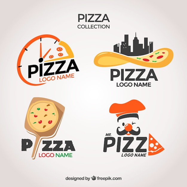 Pacote de logotipos de pizzarias Vetor grátis