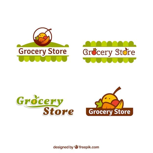 Pacote de logotipos de supermercados Vetor Premium