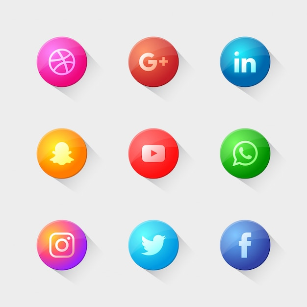 Pacote de logotipos sociais modernos Vetor Premium