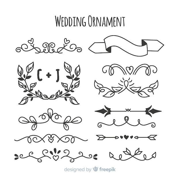 Pacote de mão desenhada enfeites de casamento Vetor grátis
