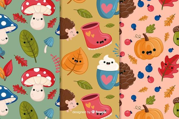 Pacote de mão desenhada padrões de outono Vetor grátis