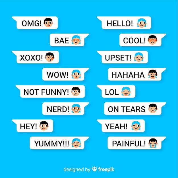Pacote de mensagens com diferentes emojis Vetor grátis