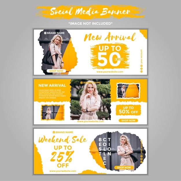 Pacote de modelo de banner de mídia social de moda Vetor Premium