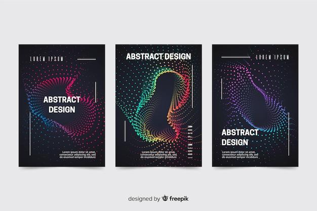 Pacote de modelo de cartazes de música de ondas abstratas coloridas Vetor grátis