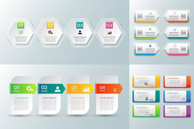 Pacote de modelo de design de infográficos. Vetor Premium