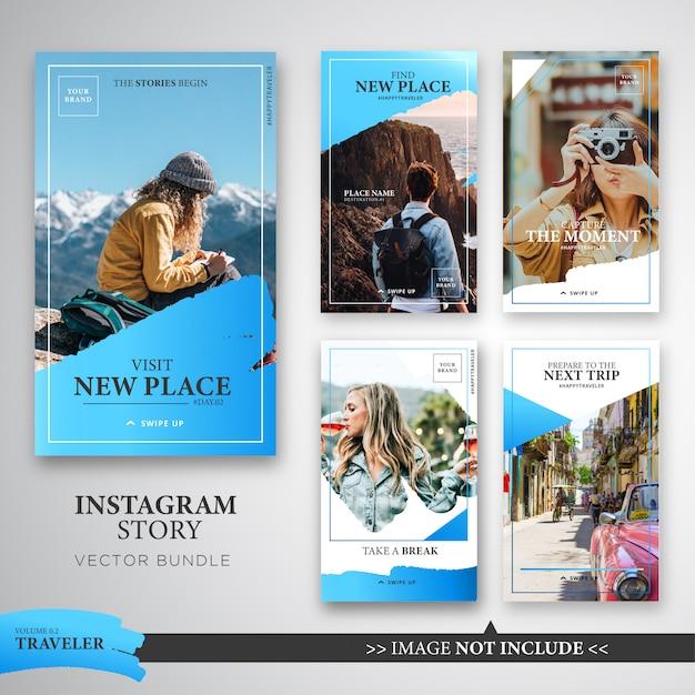 Pacote de modelo de histórias de viajante instagram na cor azul. Vetor Premium