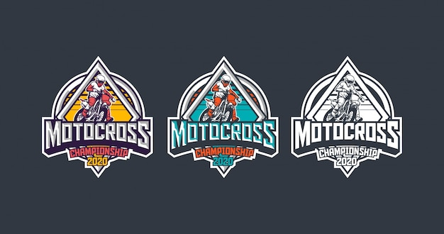 Pacote de modelo de logotipo de distintivo vintage premium de campeonato de motocross 2020 Vetor Premium