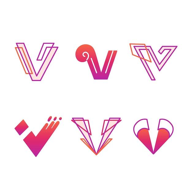 Pacote de modelo de logotipo v Vetor grátis