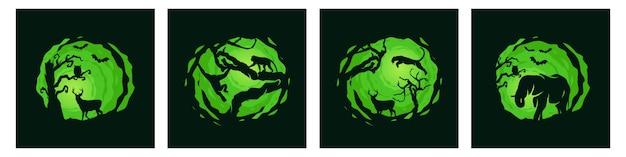 Pacote de modelo de noite de floresta animal Vetor Premium