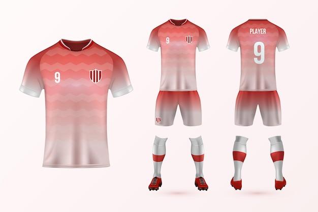 Pacote de modelo uniforme de futebol Vetor Premium