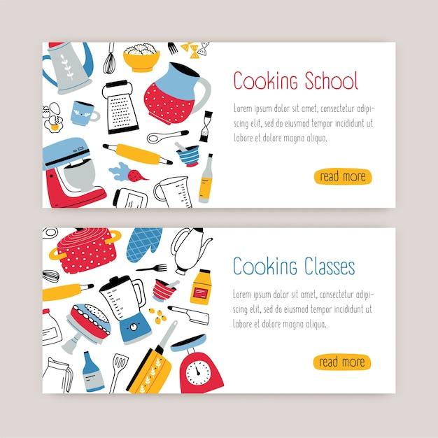 Pacote de modelos de banner da web modernos com utensílios de cozinha, ferramentas e local para texto Vetor Premium
