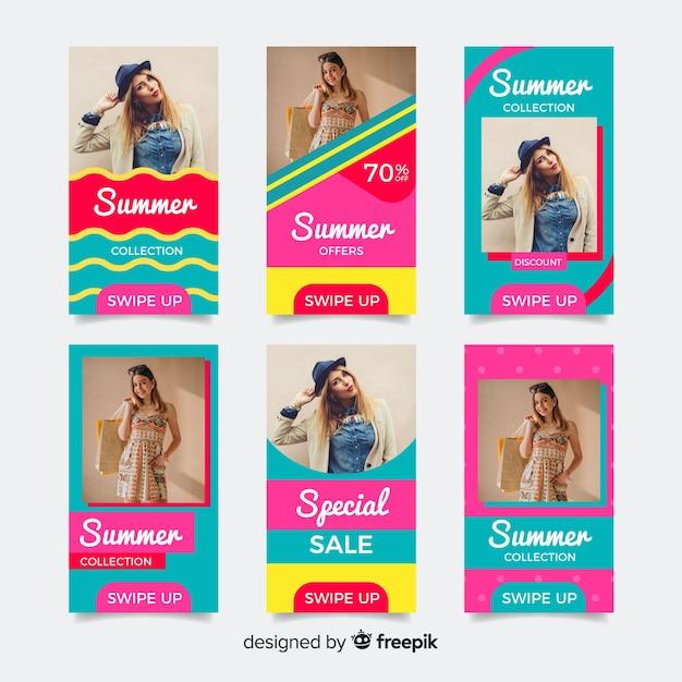 Pacote de modelos de histórias de instagram de venda de verão Vetor grátis