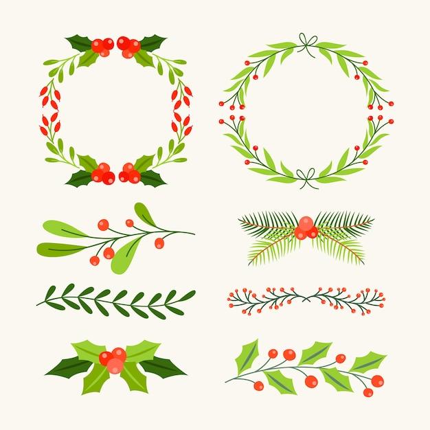 Pacote de molduras e bordas de natal de mão desenhada Vetor grátis