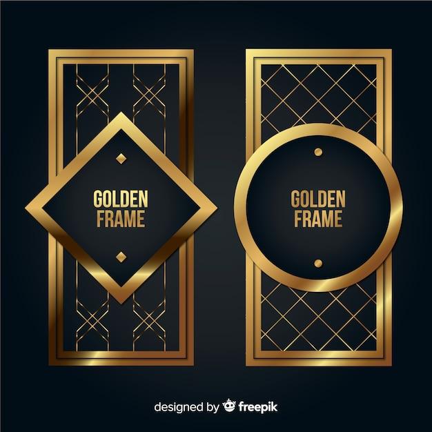 Pacote de molduras geométricas douradas Vetor grátis