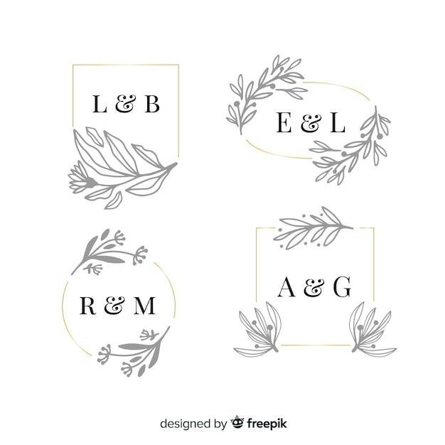 Pacote de monograma de casamento ornamental Vetor grátis