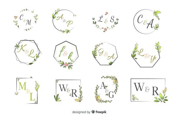 Pacote de monograma elegante casamento ornamental Vetor grátis