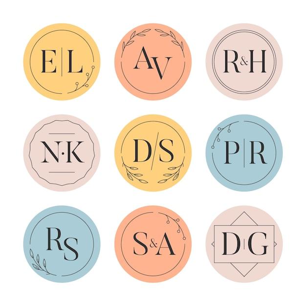 Pacote de monogramas de casamento colorido Vetor grátis