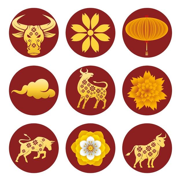 Pacote de nove ícones do conjunto dourado do ano novo chinês Vetor Premium