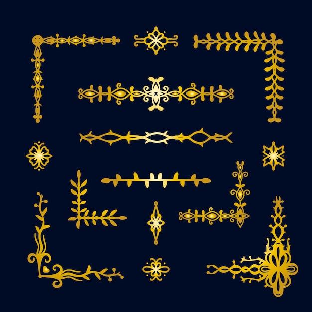 Pacote de ornamento de borda dourada Vetor grátis
