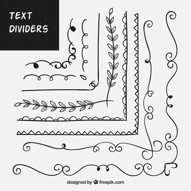 Pacote de ornamentos desenhados à mão para texto Vetor grátis