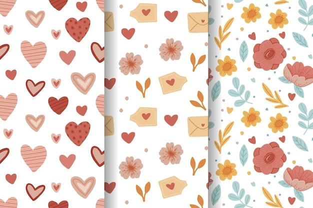 Pacote de padrão adorável desenhado à mão para o dia dos namorados Vetor grátis