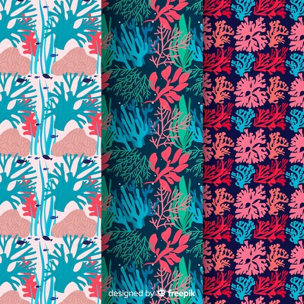 Pacote de padrão coral colorido liso Vetor grátis