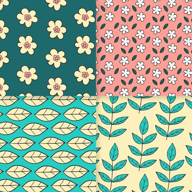 Pacote de padrão de primavera desenhado à mão Vetor grátis