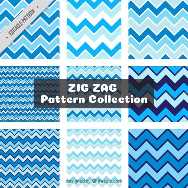 Pacote de padrões azuis zig-zag Vetor grátis