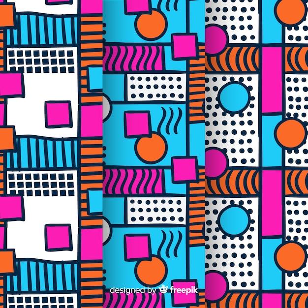 Pacote de padrões coloridos de memphis Vetor grátis