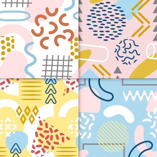 Pacote de padrões coloridos de memphis Vetor Premium