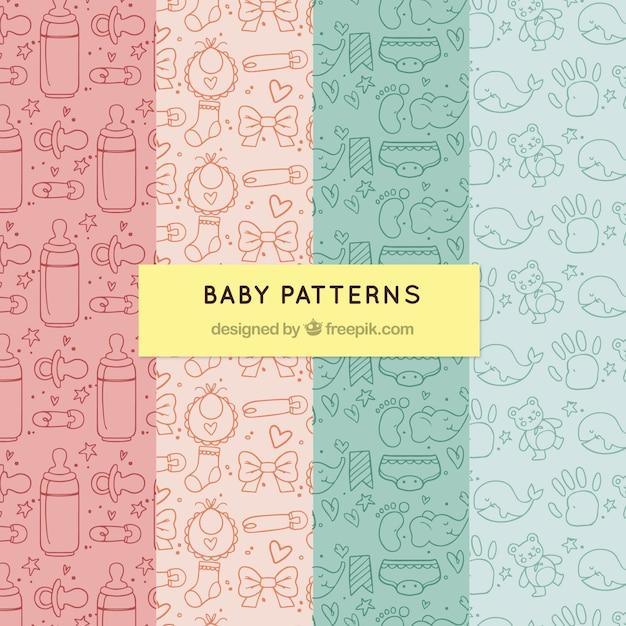 Pacote de padrões de bebê Vetor grátis