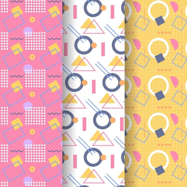 Pacote de padrões de estilo memphis Vetor grátis