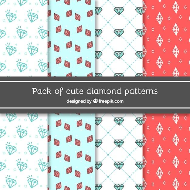 Pacote de padrões decorativos de diamantes desenhado à mão Vetor grátis