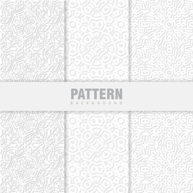 Pacote de padrões orientais. fundo branco com ornamentos árabes Vetor Premium