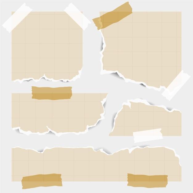 Pacote de papéis rasgados de diferentes formas com fita adesiva Vetor Premium