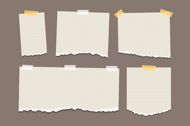 Pacote de papel rasgado em diferentes formas Vetor grátis