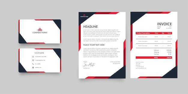 Pacote de papelaria da modern business company com papel timbrado e fatura com formas abstratas em vermelho Vetor grátis